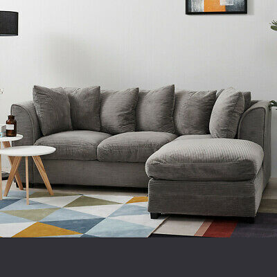JUMBO CORD CORNER SOFA SUITE,GREY/BROWN,2 / 3 SEATER / FOOTSTOOL / FREE CUSHIONS
