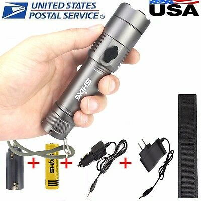 Tactical 6000LM XM-L T6 LED Zoom Flashlight Torch Lamp AAA Rechargeable US -3G