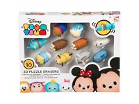 Brand New Fully Sealed Disney Tsum Tsum 3D Puzzle Eraser Set Childrens Toys