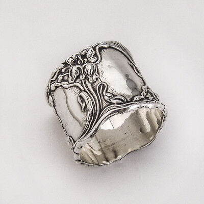 Napkin Ring Art Nouveau Floral Decorations Sterling Silver 1900