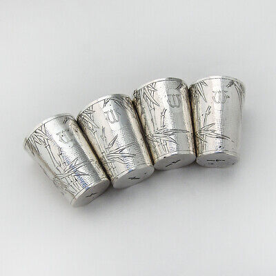 Bamboo Hammered Shots Set Chinese Export Sterling Silver Siu Kee