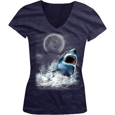 Full Moon Juniors T-shirt - Great White Shark Water Teeth Mouth Full Moon Attack Eat Juniors V-Neck T-Shirt