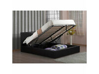 Double Storage Leather Bed Black/Dark Brown