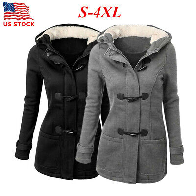 Women's Winter Warm Hoodie Coat Ladies Long Hooded Parka Jacket Plus Size US4-16