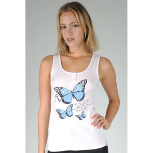 Just-Add-Sugar-Womens-Tank-Butterfly-Top-Pink-or-White-Ladies-Summer-RRP-34-95