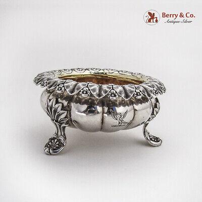 Georgian Ornate Footed Master Salt Dish Emes Barnard Sterling Silver 1828 Crest