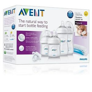 PHILLIPS AVENT NATURAL STARTER KIT NEWBORN SET bottles brush teats