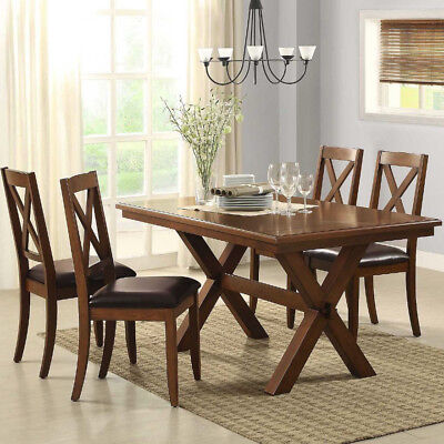 Dining Table Set 5 Piece 4 Chairs Classic Country Farmhouse Brown Rubber Wood Country Classics Rectangular Dining Table