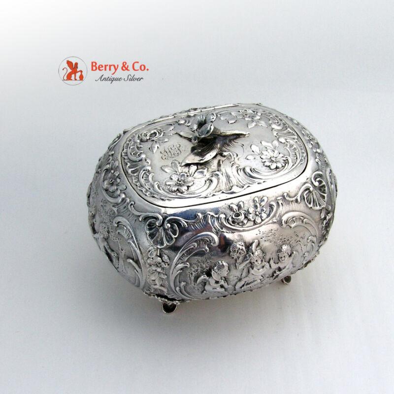 Ornate Bellied Sugar Box Figural Puty Baroque  930 Sterling Silver