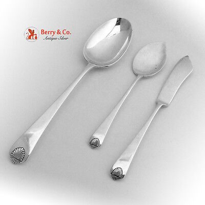 Colonial Shell Tablespoon Master Butter Knife Jelly Server Sterling 1941 No Mono Shell Jelly Server