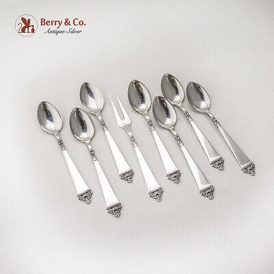 Norwegian Demitasse Spoons Serving Fork Set Nils Hansen 830 Silver