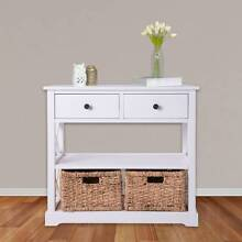 Rustic 2 Drawer Cabinet with 2 Baskets - White Minchinbury Blacktown Area Preview