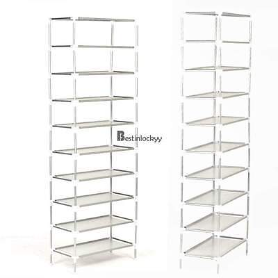 Shoe Rack New Storage Standing Tower Shelf 10 Tier 30-Pair Closet Space