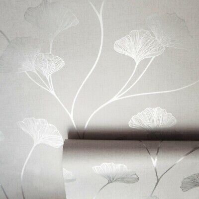 Holden Glistening Ginkgo Floral Metallic Shimmer Silver Grey Wallpaper 12700