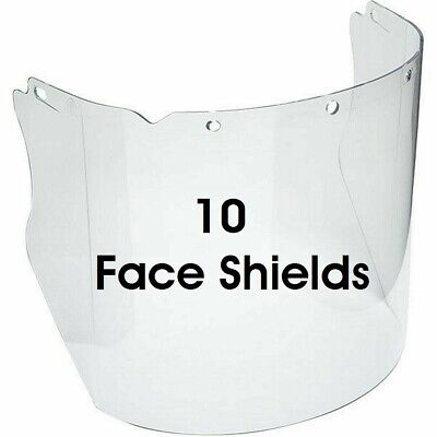 10 Msa V-gard 10115840 Contoured Clear Safety Visor Face Shield For Hard Hats