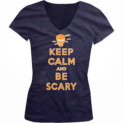 ry Halloween Poster Skull Bats Party Juniors V-Neck T-Shirt (Scary Halloween-poster)