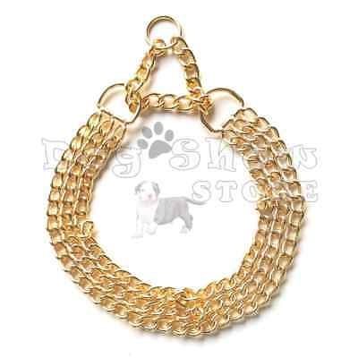 Dog show Martingale Collar Choker necklace Gold plated Tripple Chain solid metal Show Dog Collar