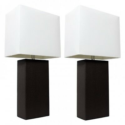 Bedside Lamp Set 2 Nightstand Leather Table Desk Black And White Bedroom Modern