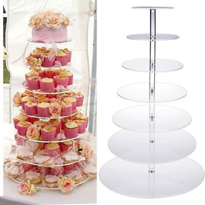 New 7 Tier Clear Acrylic Round Cupcake Stand Wedding Birthday Cake Display Tower