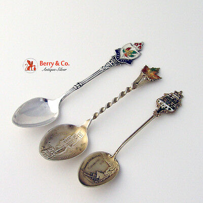 Canadian Enamel Demitasse Souvenir Spoons Three Sterling Silver