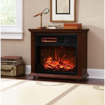 Electric Heater With Remote Modern Fireplace Large Room Warmer Infrared Amish 28