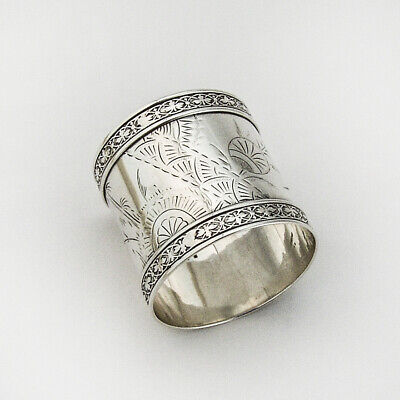Aesthetic Engraved Napkin Ring Applied Border Sterling Silver Mono