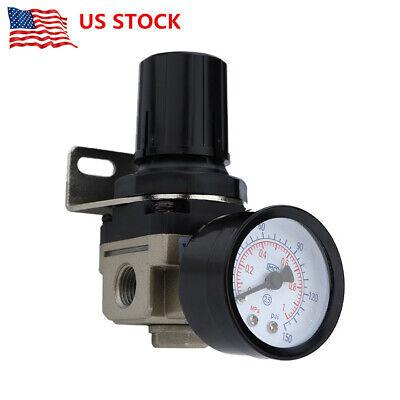 Air Filter Pressure Regulator Airbrush Compressor W Water Trap Gauge Bracket