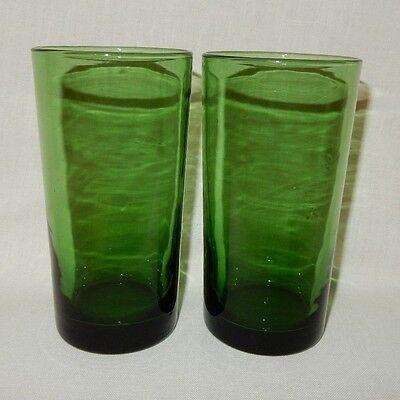 "Set of 2 Forest Fern Dark Green 14 oz Ice Tea Water Tumblers 5 5/8"" tall Glasses"