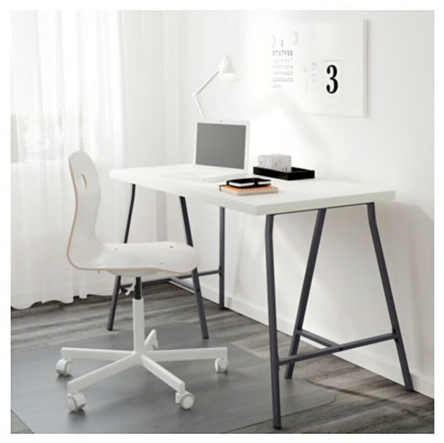 Ikea Linnmon Table Top White Lerberg Trestle Grey Desk