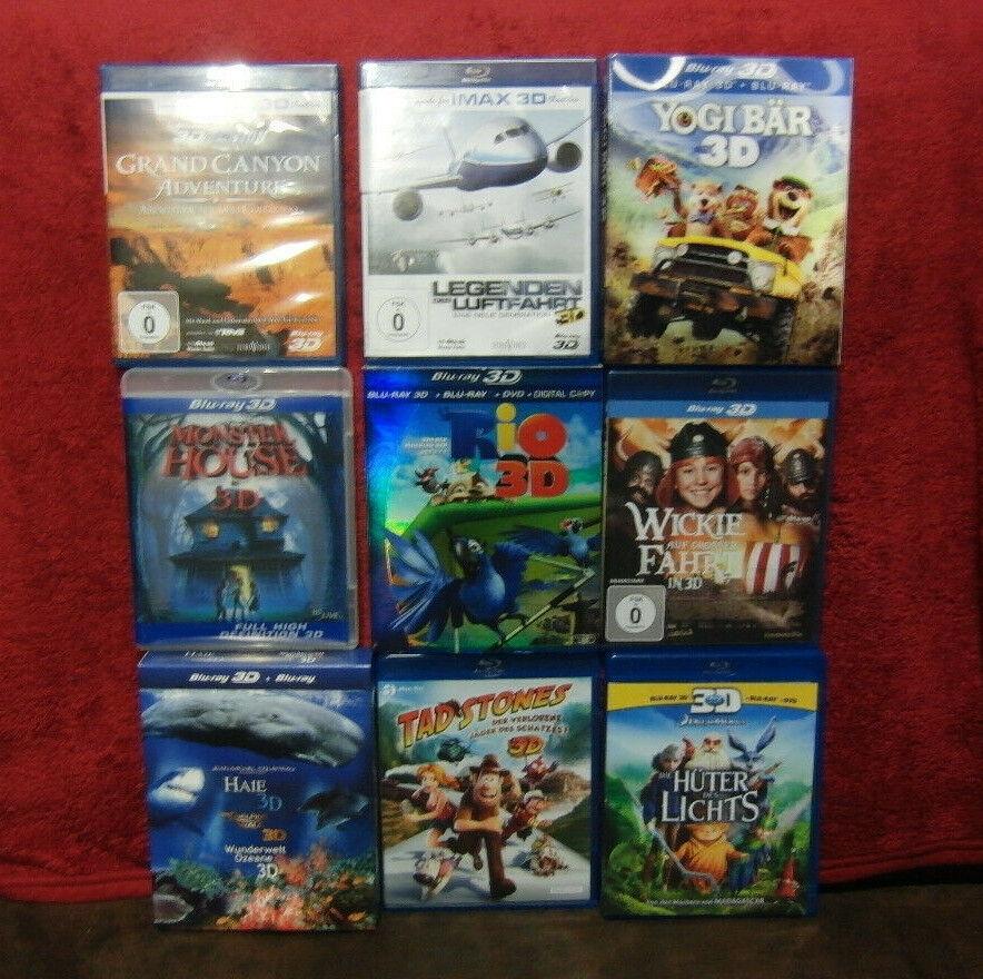 3D Blu Ray Sammlung Konvolut Filme Doku IMAX  Kinder Fantasy Wickie Rio Oz
