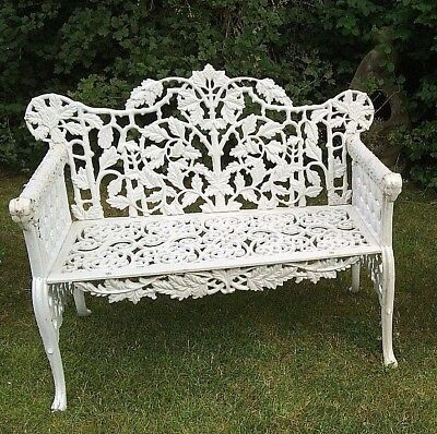 Cast Iron Oak and Ivy Bench white