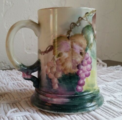 ANTIQUE J.P.L. FRANCE LIMOGES  HAND PAINTED GRAPE MOTIF TANKARD MUG