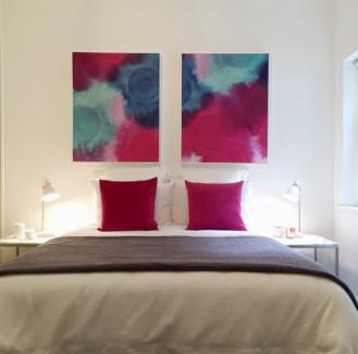 2 x Fuchsia Water Colour Print Framed Artwork ex Display RRP $599