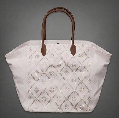 ABERCROMBIE & FITCH Women THE A&F IT Beigi Canvas Bag Sequin TOTE DUFFEL for sale  Elmhurst