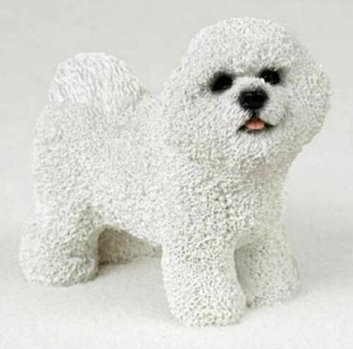 BICHON FRISE DOG Figurine Statue Hand Painted Resin Gift Pet Lovers Brindle