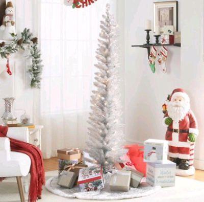 6' ft PRELIT SILVER TINSEL Artificial Pencil CHRISTMAS/HANUKKAH/HOLIDAY Tree