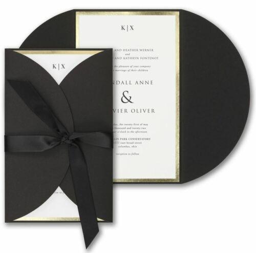 Personalized Wedding Invitations Black Wrap & Ribbon Gold Border Thermography