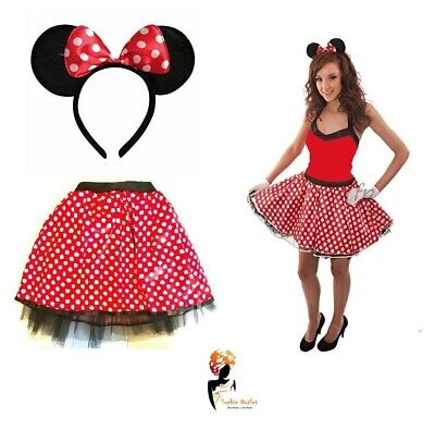 Girl Mouse POLKA DOT TUTU + RED BOW EARS HEADBAND SET Red Skirt Fancy Dress ](80s Cartoon Characters Halloween Costumes)