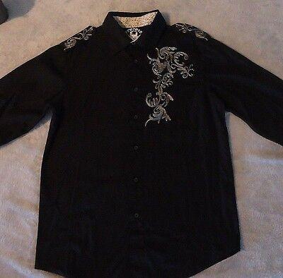Mens Studio PX Button Down Black Shirt 3-D stitch Embroidery Size M EUC  - Black Button Studio