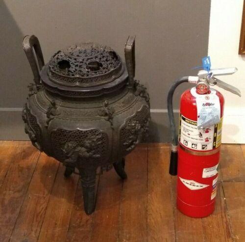 Very Large Antique Japanese Bronze Censer Urn Incense Burner Artist Signed