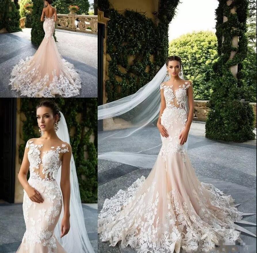 Vintage Mermaid Beach Country Bridal Gown Sheer Neck Cap Sleeves Wedding Dresses