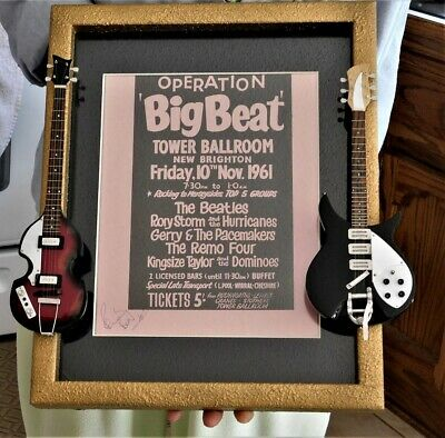 Beatles Pete Best Signed Tower Repo Ballroom Poster Framed with two Mini