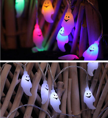 Battery Operated Skull Ghost Shaped Halloween LED String Lights DIY Decoration