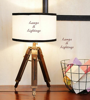 Handmade Wooden Brown Finish Desk Lamp Home Wedding Decor