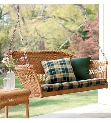 Tan Hand Woven Resin Wicker Hanging Porch Swing Outdoor Furniture Patio Deck
