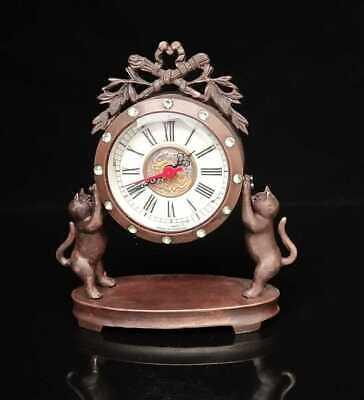Collectible Handmade Statue cat Mechanical Clock Exquisite brass