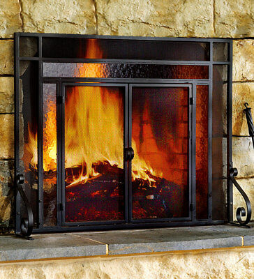 2-Door Steel Fireplace Screen w/ TempeRed Glass Accents, in Black