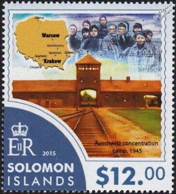 WWII Liberation of AUSCHWITZ Concentration Camp & Poland Map Stamp #2 (2015)