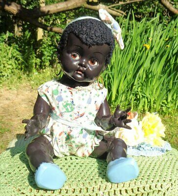 RARE VINTAGE HARD PLASTIC BLACK PEDIGREE DELITE BABY DOLL WITH FLIRTY EYES C1948