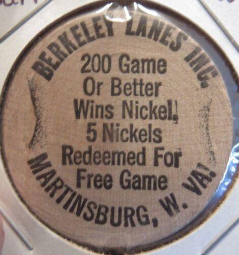 Vintage Berkeley Lanes Martinsburg, WV Wooden Nickel - Token West Virginia